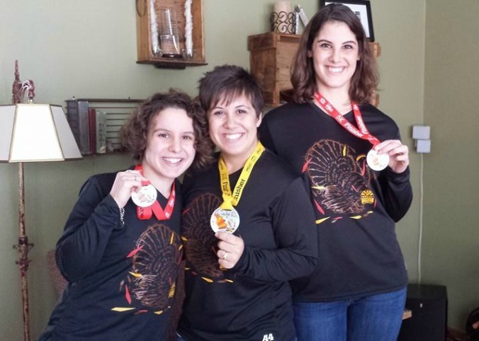 We wore our race shirts and medals all day. Because we're winners like that.